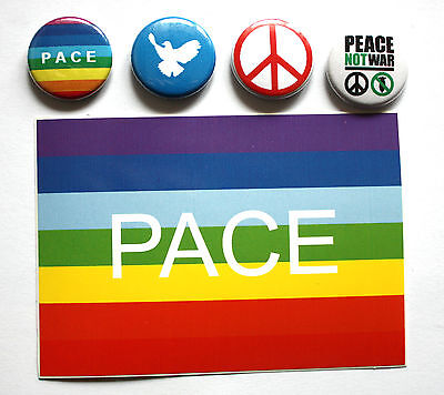 4 PEACE Buttons + 1 Aufkleber Button / Badge Punk Antifa Frieden pin NO WAR