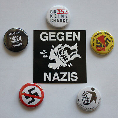 5 Antifa Buttons + 1 Aufkleber Button Badge Punk Punkrock Gegen Nazis Pin