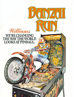 1988 Williams Banzai Run Pinball Flyer Mint