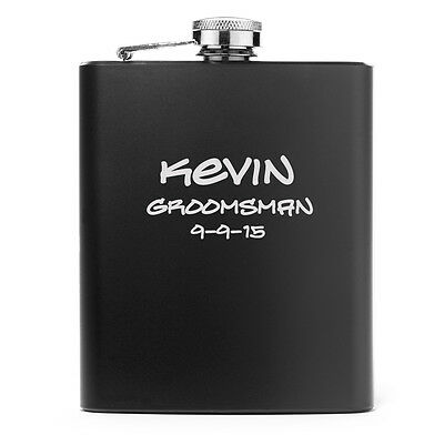 Engraved 7oz Matte Black Stainless Steel Hip Flask PERSONALIZED ADD TEXT IMAGES