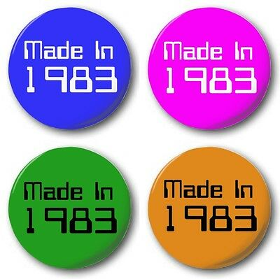 MADE IN...80's Button Badge 1 inch / 25mm 1980-1989 4 Colours Eighties Birthday