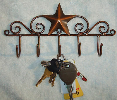 Rustic Early American Country  BARN STAR KEY  Hanger Holder  Aged Copper 5 Hooks