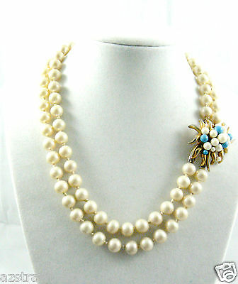 VTG  Marvella 2-Strand Beaded Pearl faux Necklace Fancy floral clasp necklace