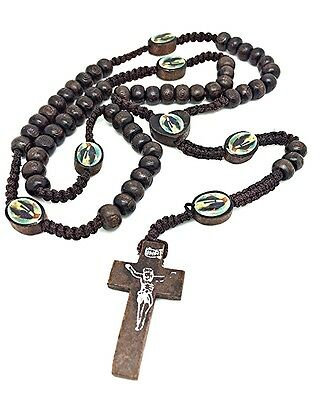 Dark WOOD Beads WOODEN Religious ROSARY NECKLACE Miraculous Heart FREE Gift Bag