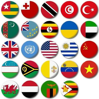 """1/"""" Button Badge WORLD FLAGS Various 25mm E to I"""