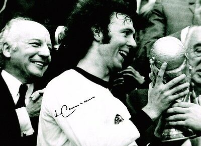 Franz Beckenbauer HAND SIGNED Autograph Germany World Cup HUGE Photo AFTAL COA