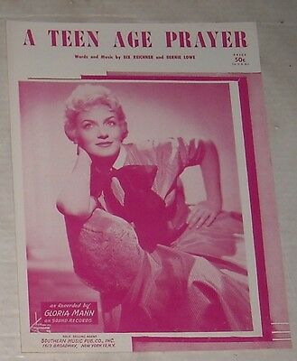 1955 GLORIA MANN A TEEN AGE PRAYER SHEET MUSIC PHOTO COVER