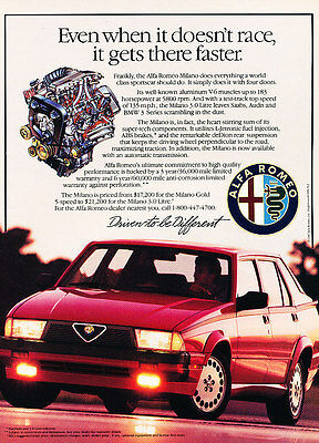 1987 Alfa Romeo Milano - faster - Classic Vintage Advertisement Ad A75-B