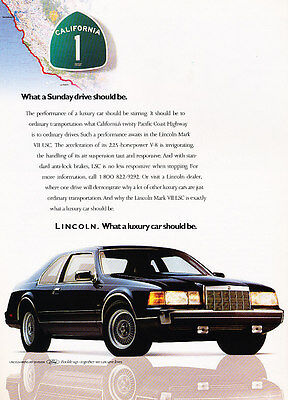 1986 Lincoln Mark VII LSC - CA1 - Classic Vintage Advertisement Ad A79-B