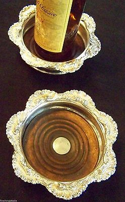OLD ENGLISH SHEFFIELD GEORGIAN STYLE SILVER WINE or CHAMPAGNE COASTER SET OF TWO