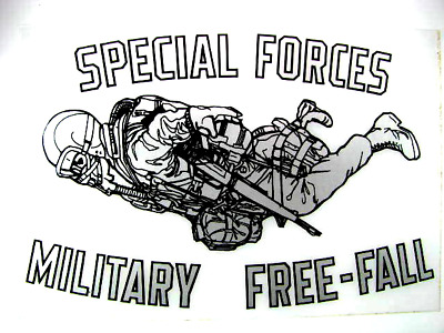 "Decal, (2) US Army Specia Forces  -HALO -Freefall 7""x4"""