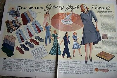 1940 REAL SILK Hosiery Stockings Spring Style Parade Two Page Ad
