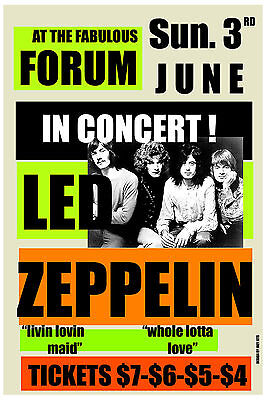 Led Zeppelin at Los Angeles Forum Concert Poster 1973
