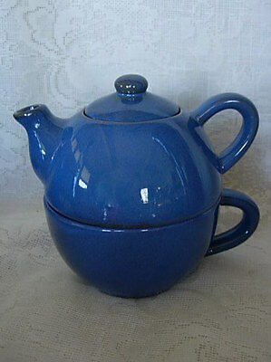 """Blue PIER 1 """"Tea for One"""" Stoneware Pottery Teapot & Cup/Mug - NEW"""