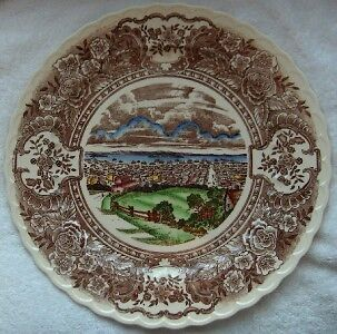 Vernon Kilns 1860 large 14 inch chop plate~Hand painted
