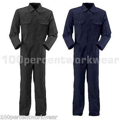 Baratec Blackrock Work Coverall Overalls Boiler Suit Mens Mechanics Black / Navy
