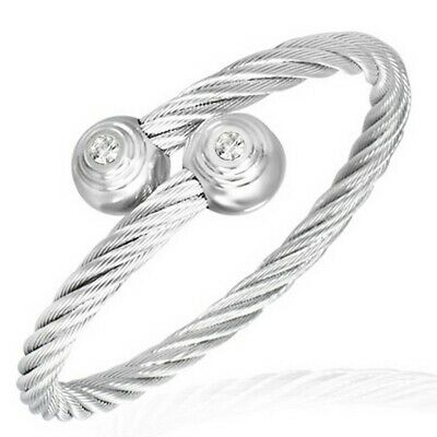 Stainless Steel Silver Tone Celtic Twisted Wire Womens Cuff Bracelet with CZ