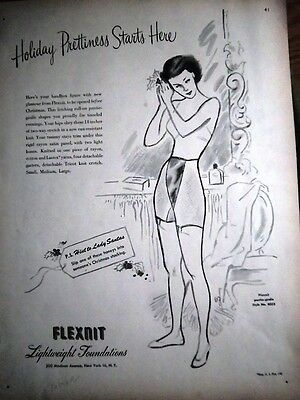 1946 Vintage FLEXNIT Lightweight Foundations GIRDLE Full Page Ad