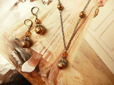 PARIS AUTUMN Pearl Orange Vintage Antique Gold Lace Shabby Earring Necklace SET