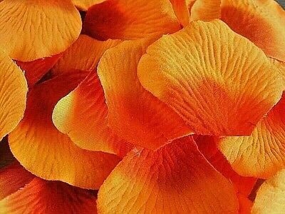 100 TWO TONE ORANGE  QUALITY SILK ROSE PETALS/ CONFETTI table decoration
