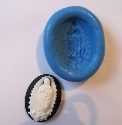 virgin of GUADALUPE mary religious CAMEO Silicone Push Mold Polymer clay Resin