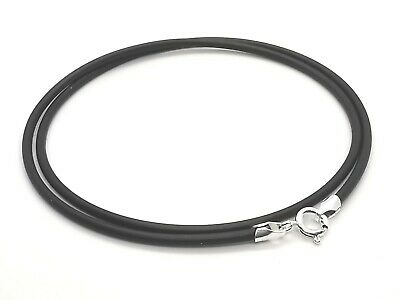 "2mm Black Silicone Rubber Cord & 925 Sterling Silver Necklace 14"" 16"" 18"" 20"" 22"