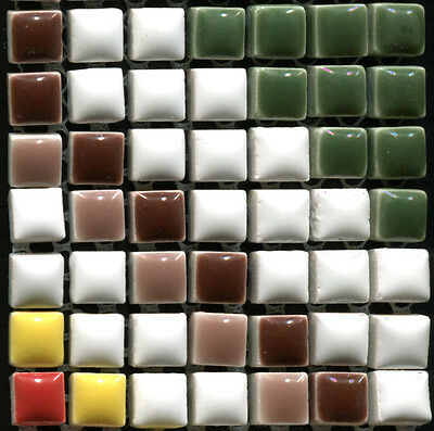 49 Ceramic Mosaic Tiles 1x1 Red, Yellow, White, Brown, Green - Type 2