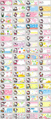 128 Kitty Cat Pencil Label Personalised Name Sticker kid waterproof Vinyl Tag