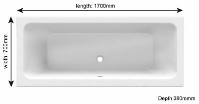 Double Ended Square 1700 x 700mm Bath 20 Year Guarantee Reinforced Panel Option