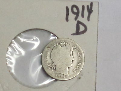 Usa Coins 1914 D   Barber Dime  10C