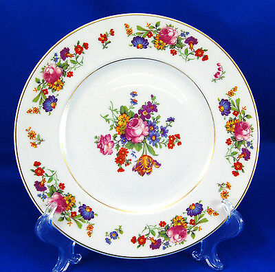 Syracuse China Old Ivory SHARON Dinner Plate 9.75 in. Pink Blue Floral Gold Trim