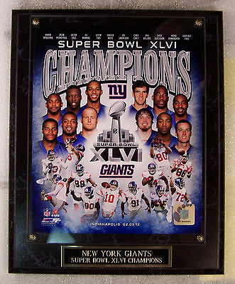NEW YORK GIANTS SUPER BOWL XLVI CHAMPS PLAQUE 2 DAY MAIL GIFT BOX FREE INSURANCE