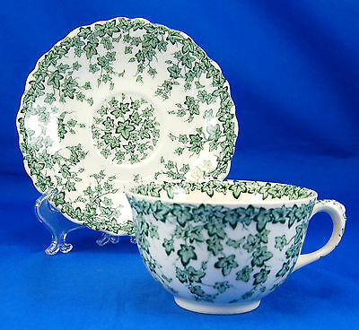 Crown Ducal EARLY ENGLISH IVY - GREEN Footed Cup and Saucer Set 2.25 in. Vines