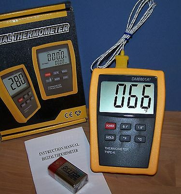 Digital Thermometer LCD 1 K Type Sensor Thermocouple Science Projects DM6801