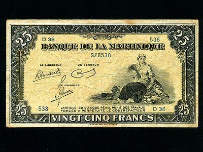 Martinique:P-17a,25 Francs,1943-5 * French Rule *