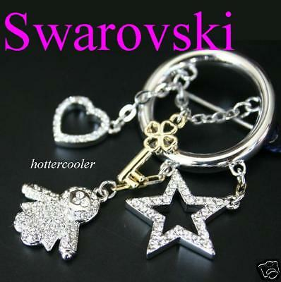 NEW Authentic SWAROVSKI CRYSTAL BROOCH PIN DOLL STAR HEART
