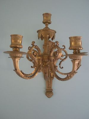 ANTIQUE BRASS ELABORATELY SCROLLED PAIR/ EUROPEAN SCONCES-Museum Quality
