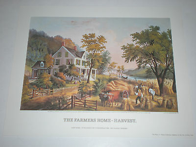"""HARVEST/"""" Color Print Lithograph 1972 Vintage Currier /& Ives /""""THE FARMER/'S HOME"""