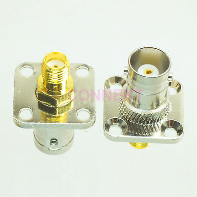 1pce BNC female to SMA female flange mount RF adapter connector