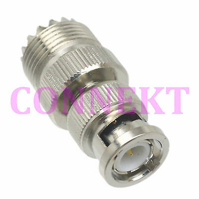 1pce UHF female jack to BNC male plug RF coaxial adapter connector