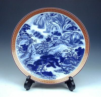 *Ship From U.S* Blue&White Landscape Hand Painted Large Plate Charger 10""
