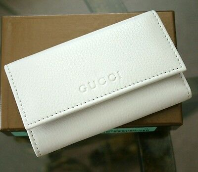 New Authentic GUCCI Leather Key Chain/ Holder WHITE w/Box 260989 9014