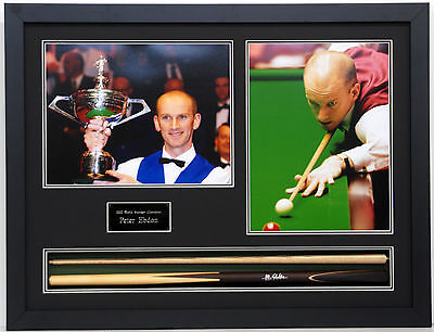 Peter Ebdon HAND SIGNED FRAMED Snooker Cue + Photo Display AFTAL Autograph COA