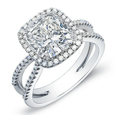 2.99 Ct. Cushion Cut Halo Round Cut Pave Diamond Engagement Ring 18K I,VS2 EGL
