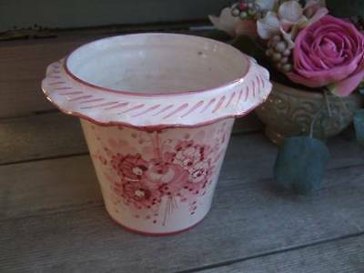 Antique B.Altman Italy Flower Pot Planter-Shabby Pink Roses-Signed & Numbered