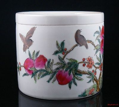 *Ship From U.S* Famille-Rose Birds On Peach Tree Painted Porcelain Cricket Pot