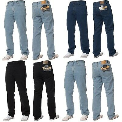 New Mens Blue Circle Classic Fit Straight Leg Jeans Basic Work Pants In 28 - 60