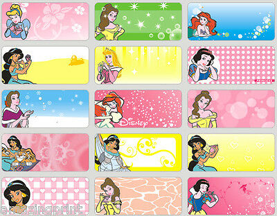 72pcs Princess Personalised Name Labels Stickers 3x1.3mm school tag girls