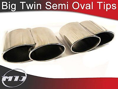 Porsche Caynne Turbo Style Twin Oval Slash Cut Exhaust Tailpipes Tips L & R Hand