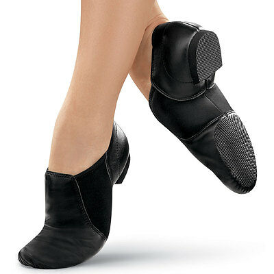 New Adult n Child Black n Tan Leather Slip On Jazz Dance Shoes - Quality Assured